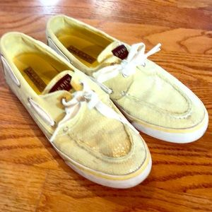 Sperry yellow sequin size 8